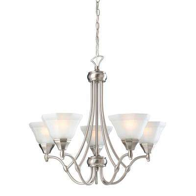 Barcelona 5-Light Satin Nickel Chandelier with Frosted Glass Shade