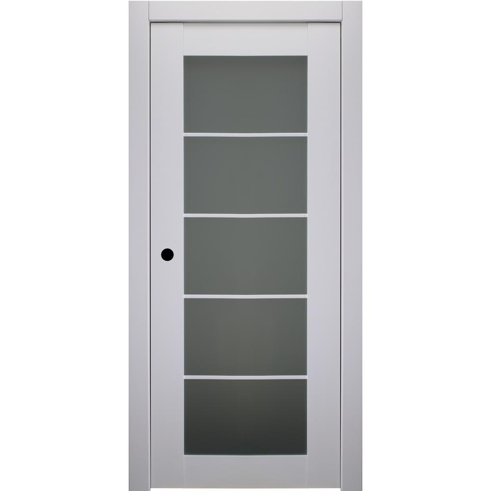 Belldinni 30 in. x 80 in. Smart Pro Polar White Right-Hand Solid Core Wood 5-Lite Frosted Glass