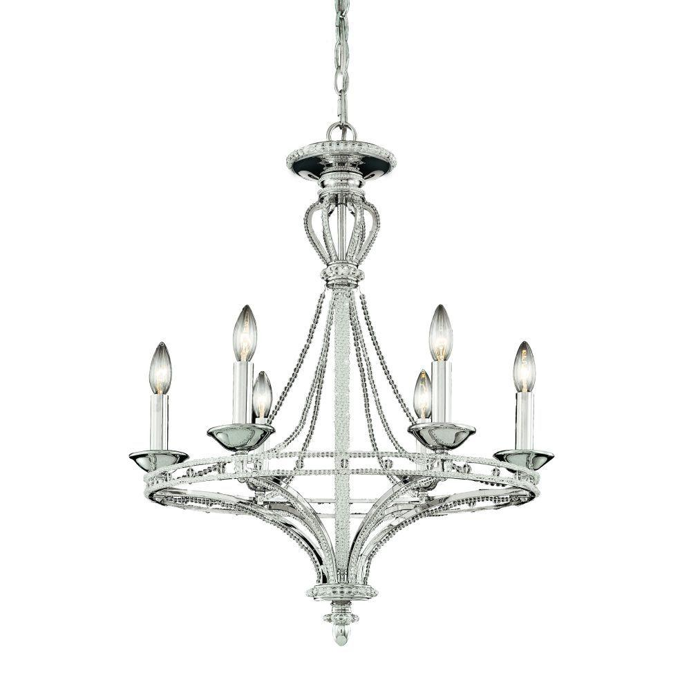 Beauchamp Collection 6-Light Satin Nickel Hanging Chandelier