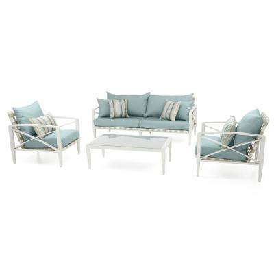 Knoxville Cream 4 Piece Aluminum Patio Seating Set With Bliss Blue Cushions