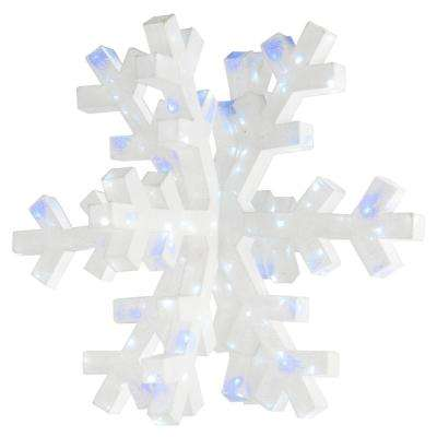 36 in. 3D Mesh Fabric with White Glitter Snowflake and 160 Cool White LED and Blue Twinkle Lights