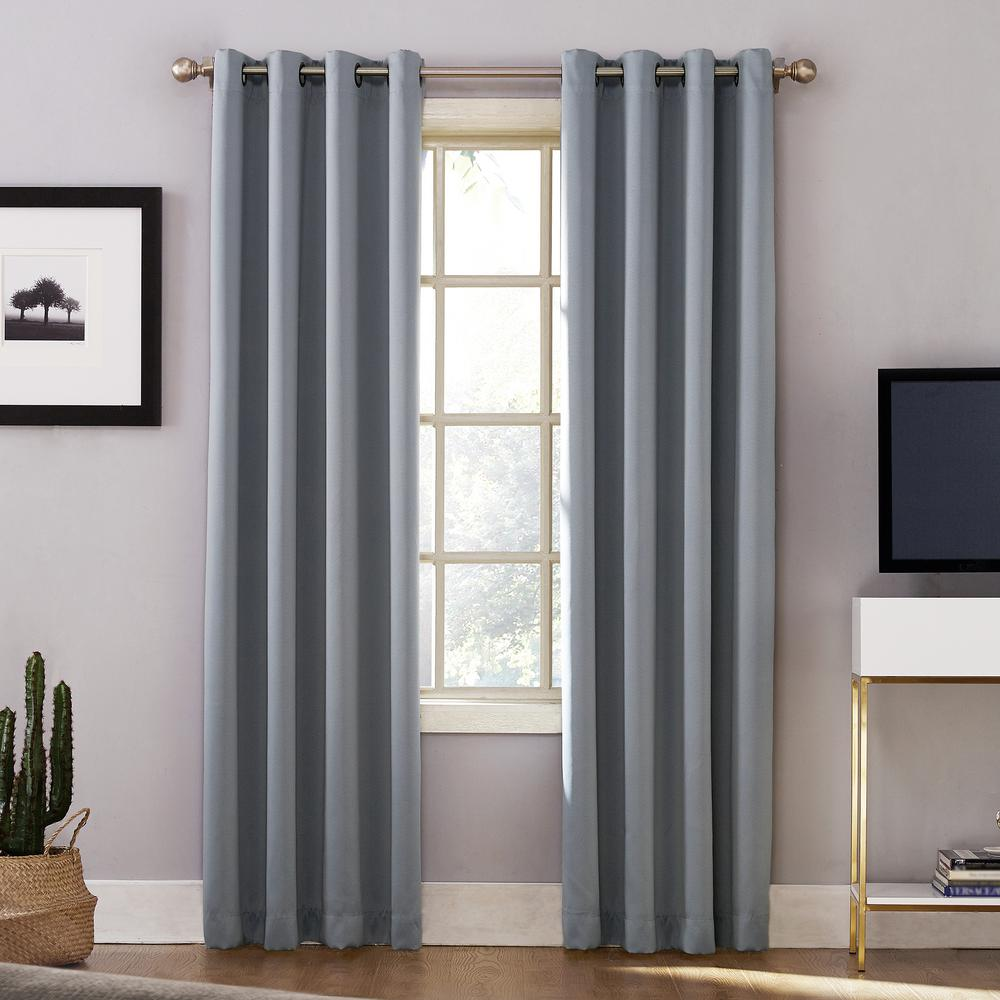 Sun Zero Oslo Woven Home Theater Grade Blackout Haze Grommet Single Curtain Panel - 52 in. W x 63 in. L
