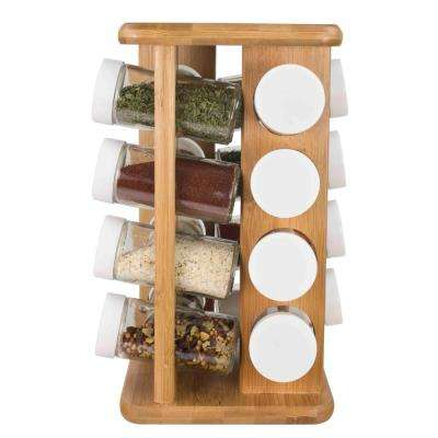 16-Piece 5.87 in.  x 5.87 in. x 10.87 in. Bamboo Spice Rack