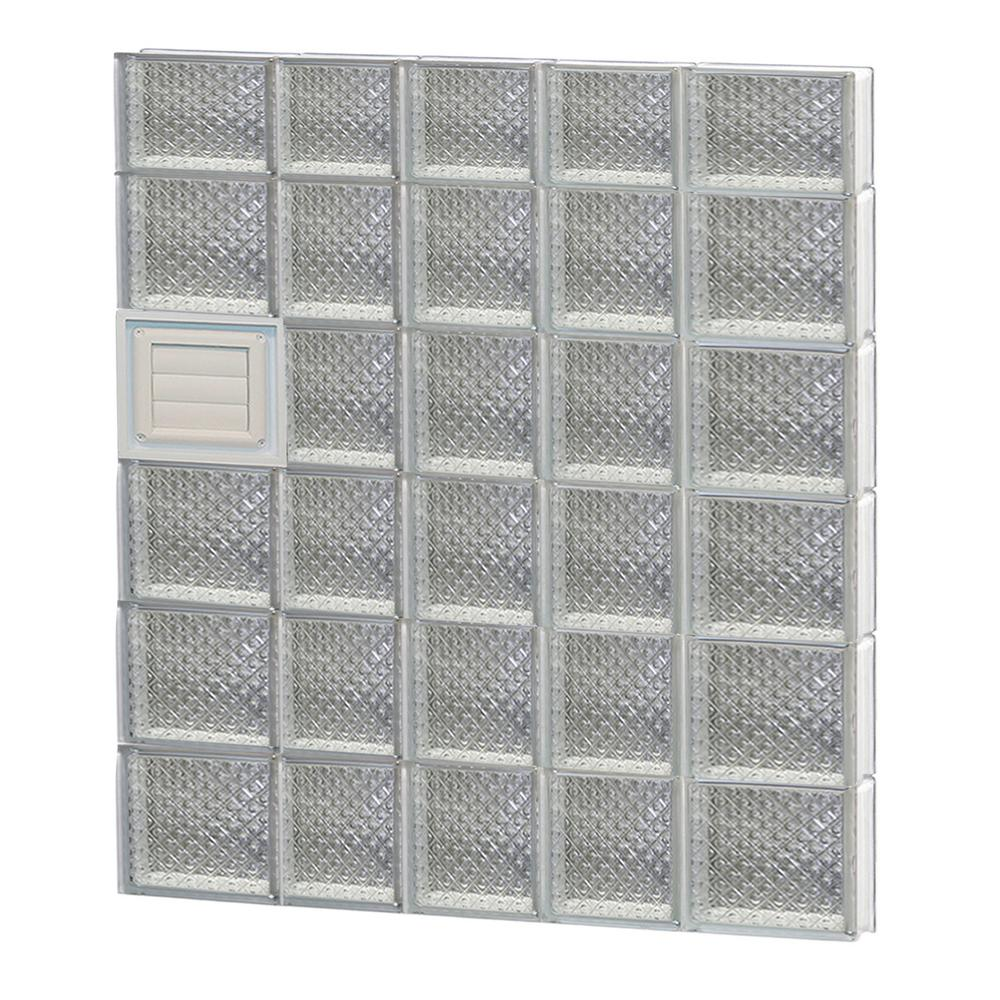 Clearly Secure 32.75 in. x 44.5 in. x 3.125 in. Frameless Diamond Pattern Glass Block Window with Dryer Vent