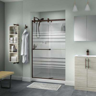 Everly 48 in. x 71 in. Semi-Frameless Contemporary Sliding Shower Door in Bronze with Transition Glass