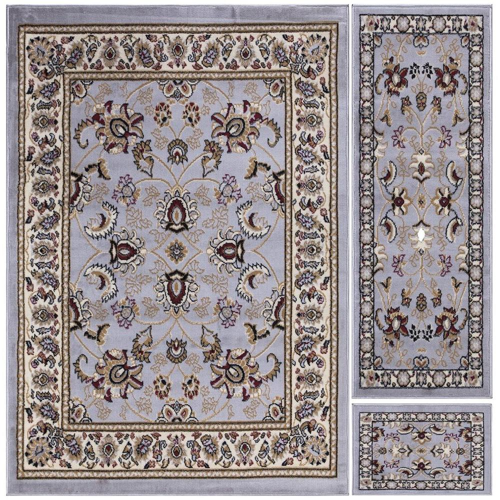 Paterson Collection Traditional Oriental Design Grayish Blue 5 ft. x 7