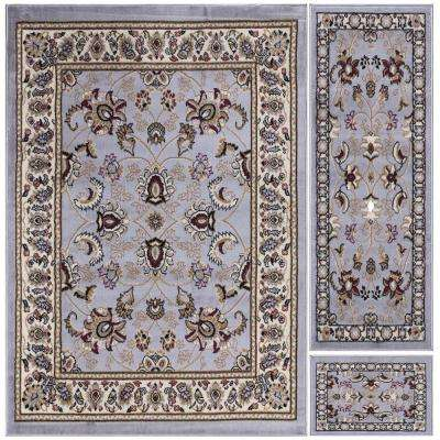Paterson Collection Traditional Oriental Design Grayish Blue 5 ft. x 7 ft. 3-Piece Rug Set