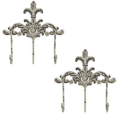 3-Pronged Cast Iron Rustic Wall Mount Decorative Hooks (2-Pack)