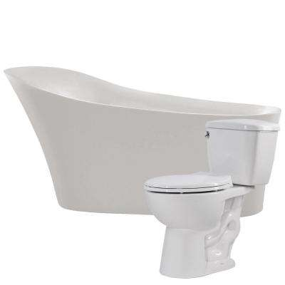 Maple 67 in. Acrylic Flatbottom Non-Whirlpool Bathtub with Cavalier 2-Piece 1.28 GPF Single Flush Toilet