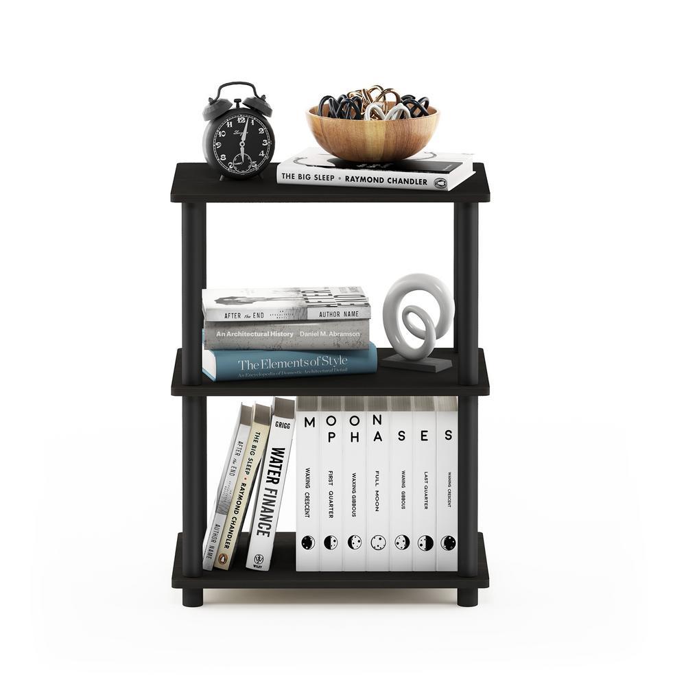 25.04 in. Espresso Plastic 3-shelf Etagere Bookcase with Open Back