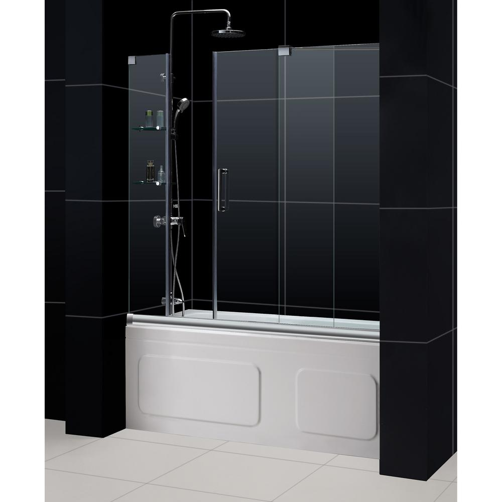 DreamLine Mirage 60 in. x 58 in. Semi-Frameless Sliding Tub Door in ...