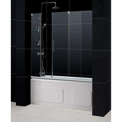 Mirage 60 in. x 58 in. Semi-Frameless Sliding Tub Door in Chrome with Handle with Handle