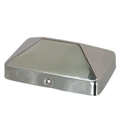 4 in. x 6 in. Stainless Steel Pyramid Slip Over Fence Post Cap