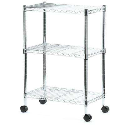 33 in. H x 22 in. W x 13 in. D 3-Shelf Chrome Wire Commercial Shelving Unit