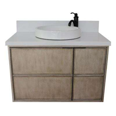Scandi 37 in. W x 22 in. D Wall Mount Bath Vanity in Brown with Quartz Vanity Top in White with White Round Basin
