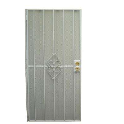 30 in. x 80 in. 808 Series Protector White Surface Mount Steel Security Door with Expanded Steel Screen