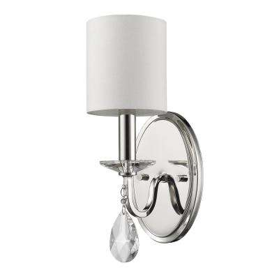 Lily 3-Light Polished Nickel Sconce with Fabric Shade and Crystal Accent