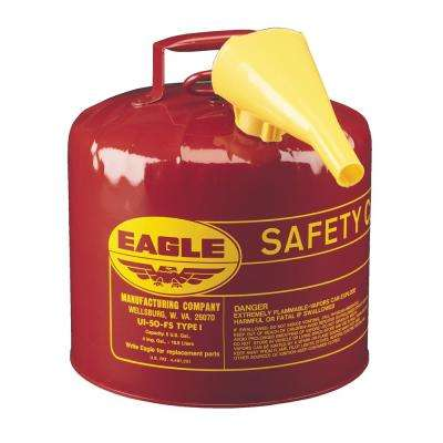 Red Galvanized Steel Type I Gasoline Safety Can with Funnel - 5 Gal Capacity