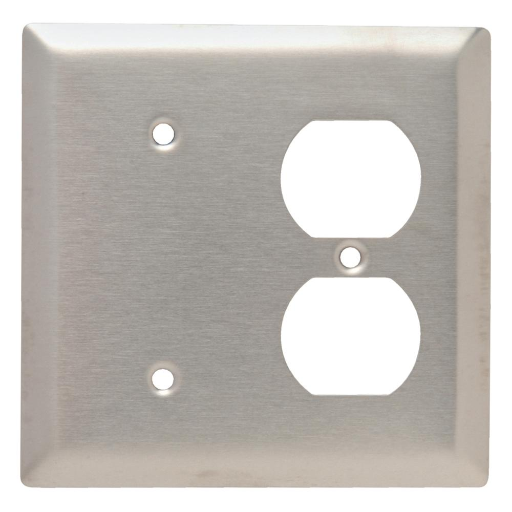 302 Series 2-Gang Duplex/Blank Combination Wall Plate in Stainless Steel