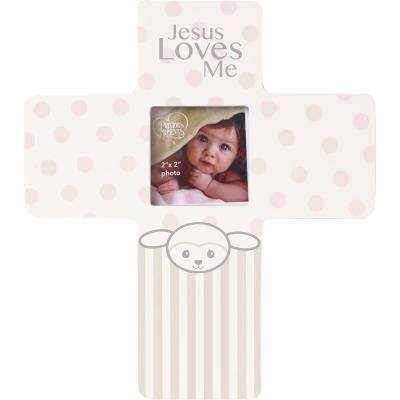 Precious Lamb 2 in. x 2 in. Pink & Gray Girl Matte Wood Cross Picture Frame