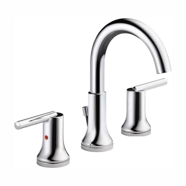 Trinsic 8 in. Widespread 2-Handle Bathroom Faucet with Metal Drain Assembly in Chrome