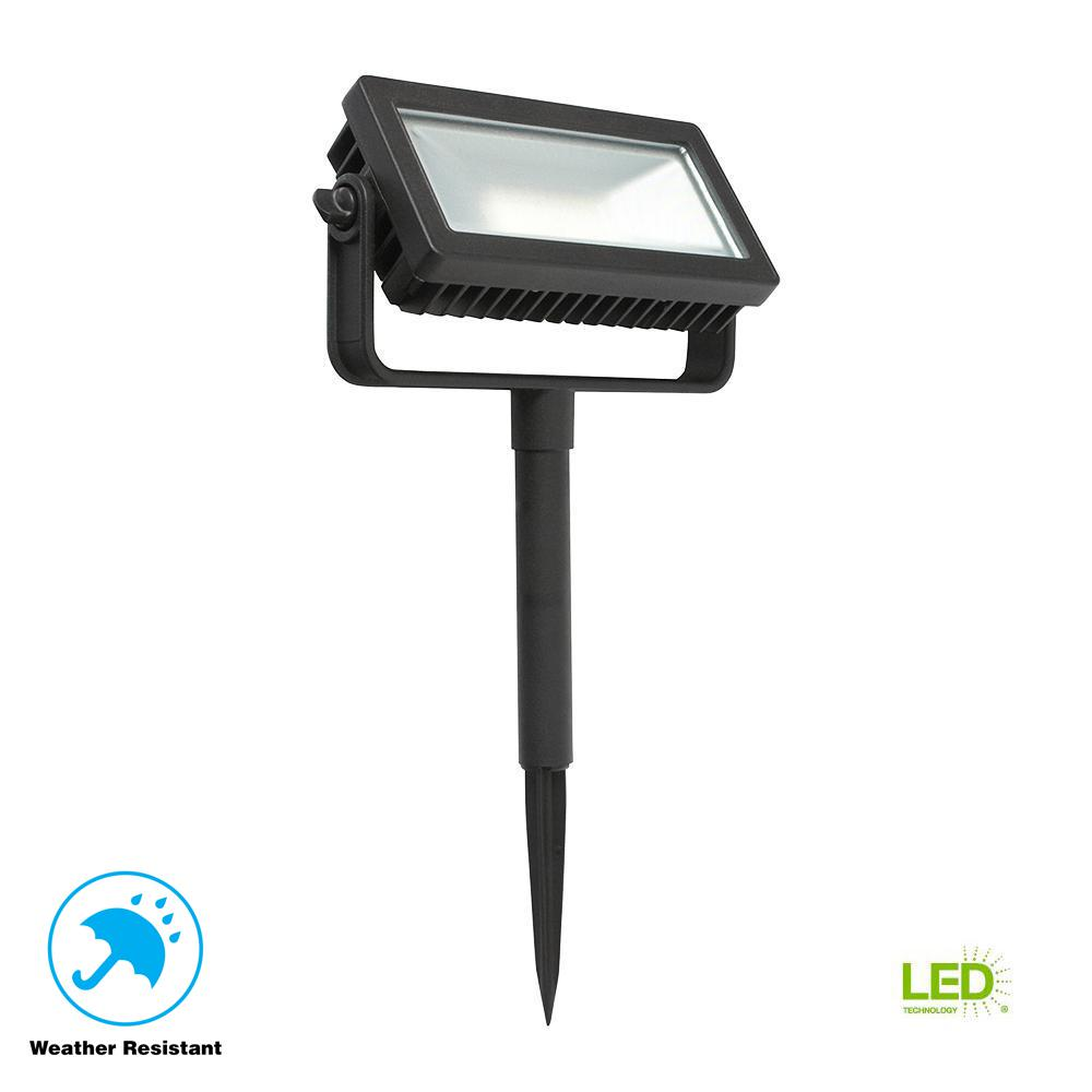 Hampton Bay Low Voltage Black Outdoor Integrated Led Landscape Flood Light With 3 Levels Of Intensity