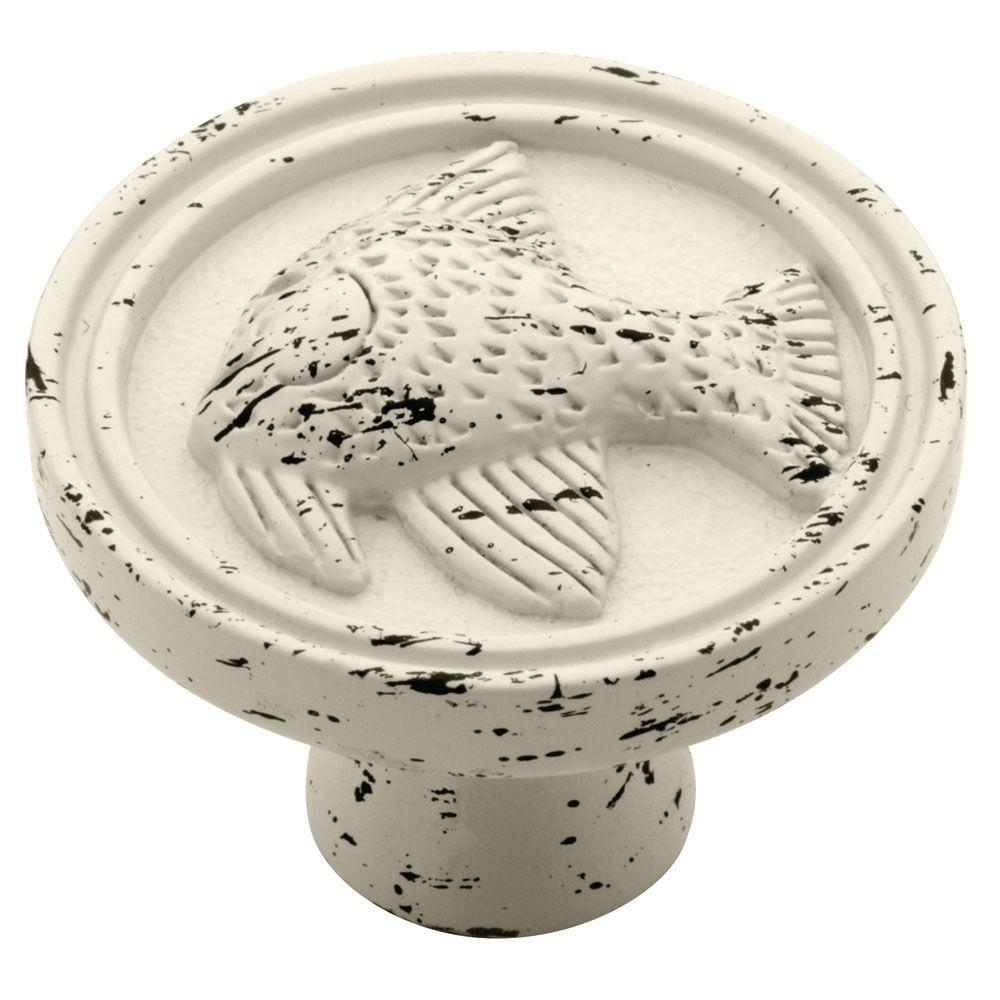 Seaside Cottage 1-3/8 in. (35mm) Antique White Angel Fish Round Cabinet
