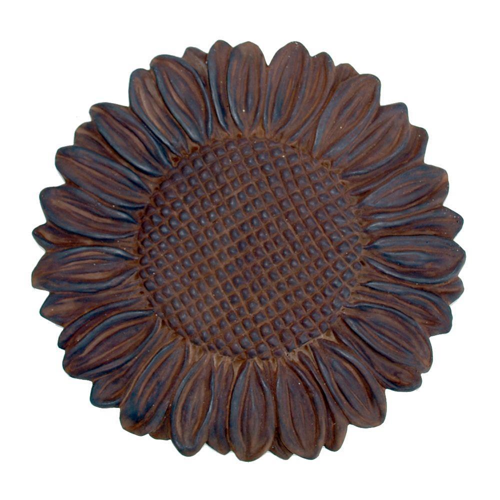 Dark Walnut Cast Stone Sunflower Stepstone