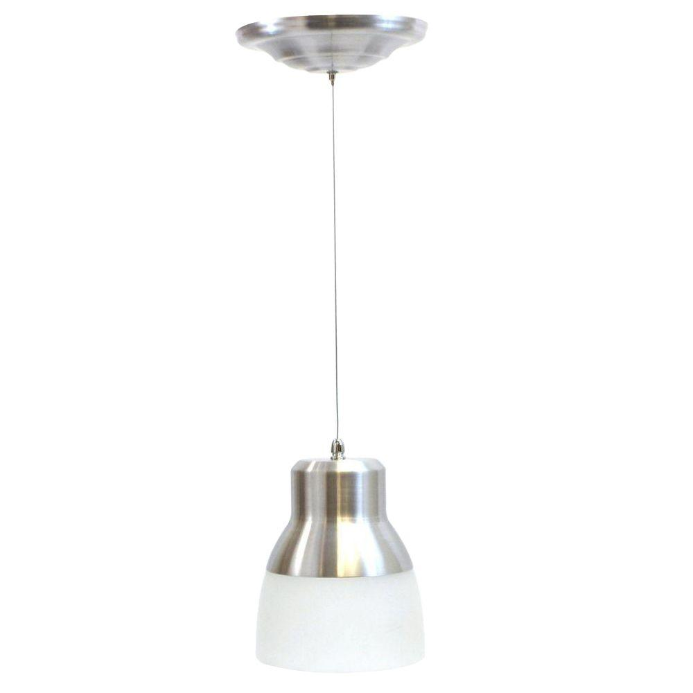 24 Light Nickel 225 Watt Integrated LED Battery Operated Ceiling Pendant With Frosted Glass