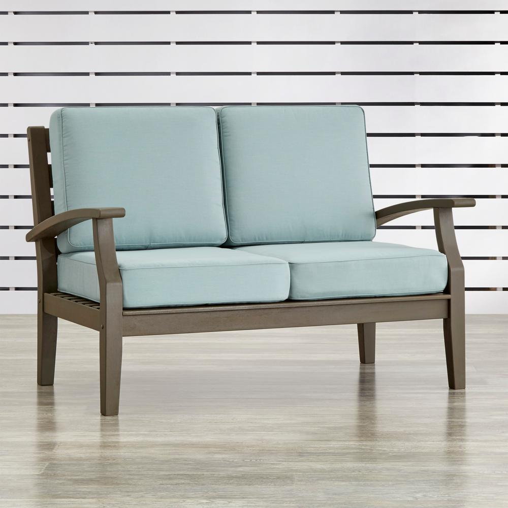 Verdon Gorge Gray Oiled Wood Outdoor Loveseat with Sunbrella Blue Cushions