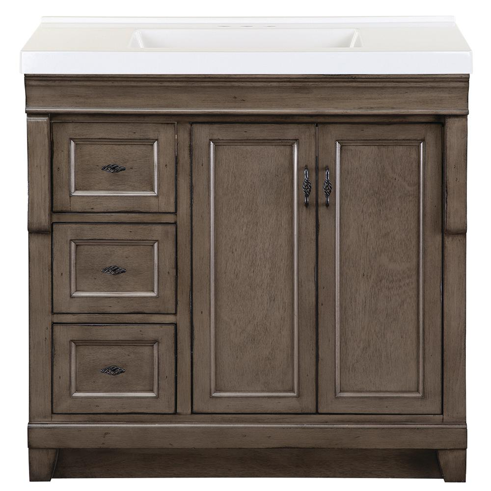 Home Decorators Collection Naples 37 in. W x 22 in. D Bath Vanity in Distressed Grey with Cultured Marble Vanity Top in White with White Sink was $928.0 now $556.8 (40.0% off)