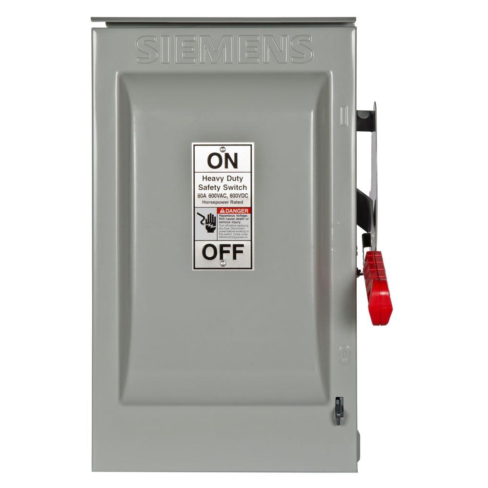Heavy Duty 60 Amp 600-Volt 3-Pole Outdoor Fusible Safety Switch with