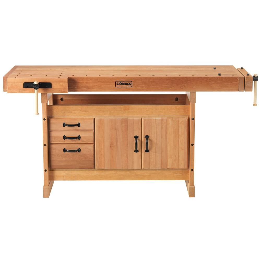 Sjobergs Scandi Plus 6 Ft X 1 In Workbench With Storage Cabinet Combo Kit