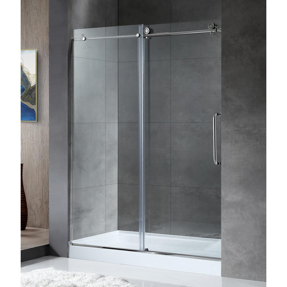ANZZI MADAM Series 60 in. by 76 in. Frameless Sliding Shower Door in Chrome with Handle