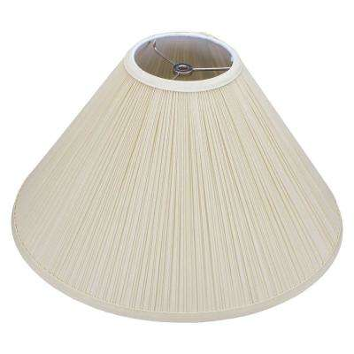 Fenchel Shades 5 in. Top Diameter x 17 in. Bottom Diameter x 11 in. Slant Coolie Lamp Shade - Pleated Mushroom Bone