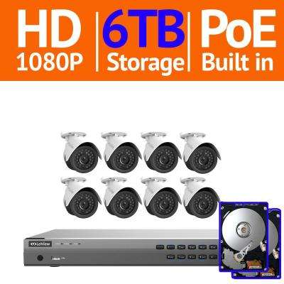 16-Channel 1080P IP Surveillance 6TB NVR Security System (8) 1080P Wired Indoor/Outdoor Cameras Free Remote View