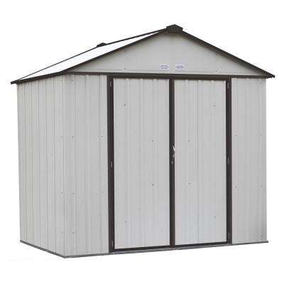 EZEE Shed 8 ft. x 7 ft. Galvanized  Steel Cream/Charcoal Trim High Gable