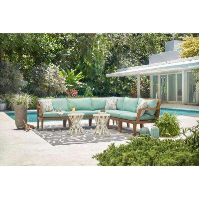 Bermuda Wood Outdoor Sectional with Richloom Spa Blue Cushion