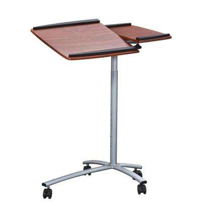 Mahogany Sit-to-Stand Rolling Adjustable Laptop Cart