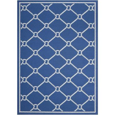 Rope Navy Blue 10 ft. x 13 ft. Trellis Transitional Indoor/Outdoor Area Rug