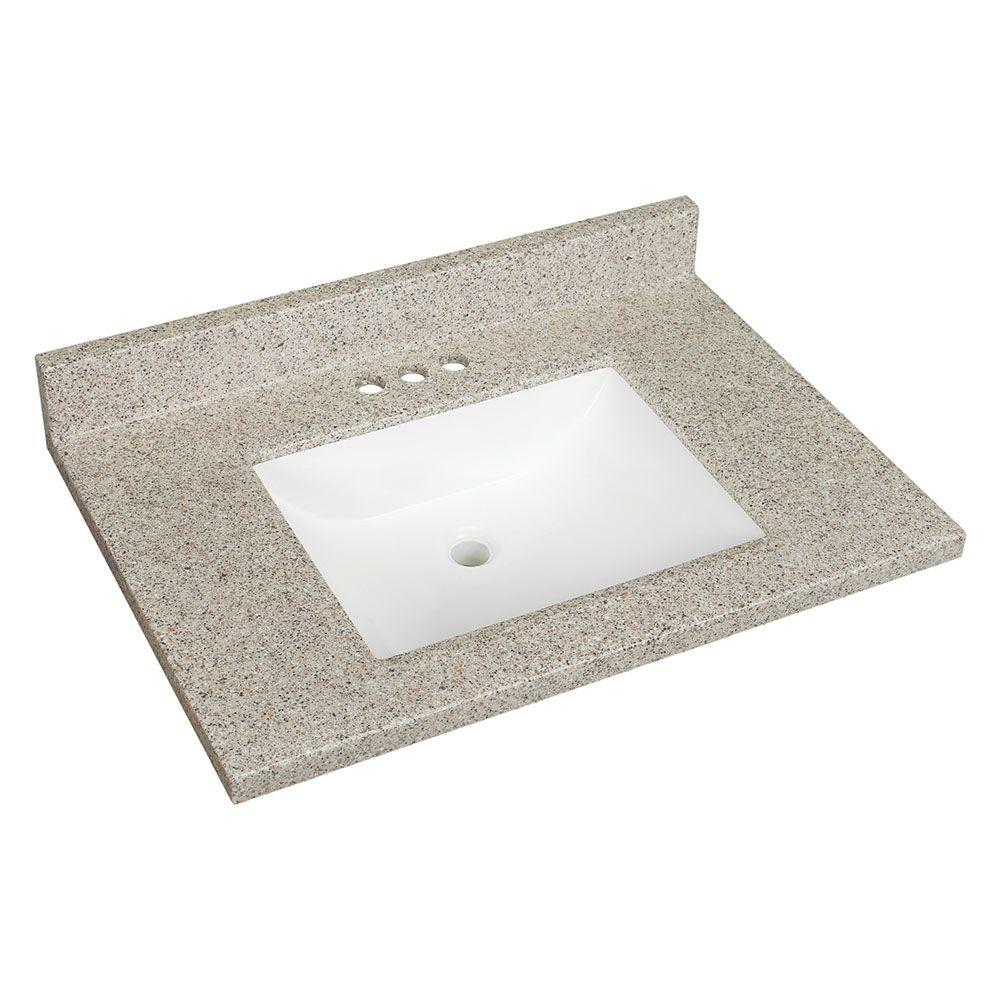 Glacier Bay 31 In. W Solid Surface Technology Vanity Top In Himalayan Salt  With White Basin-2231SQ-SUG3 - The Home Depot
