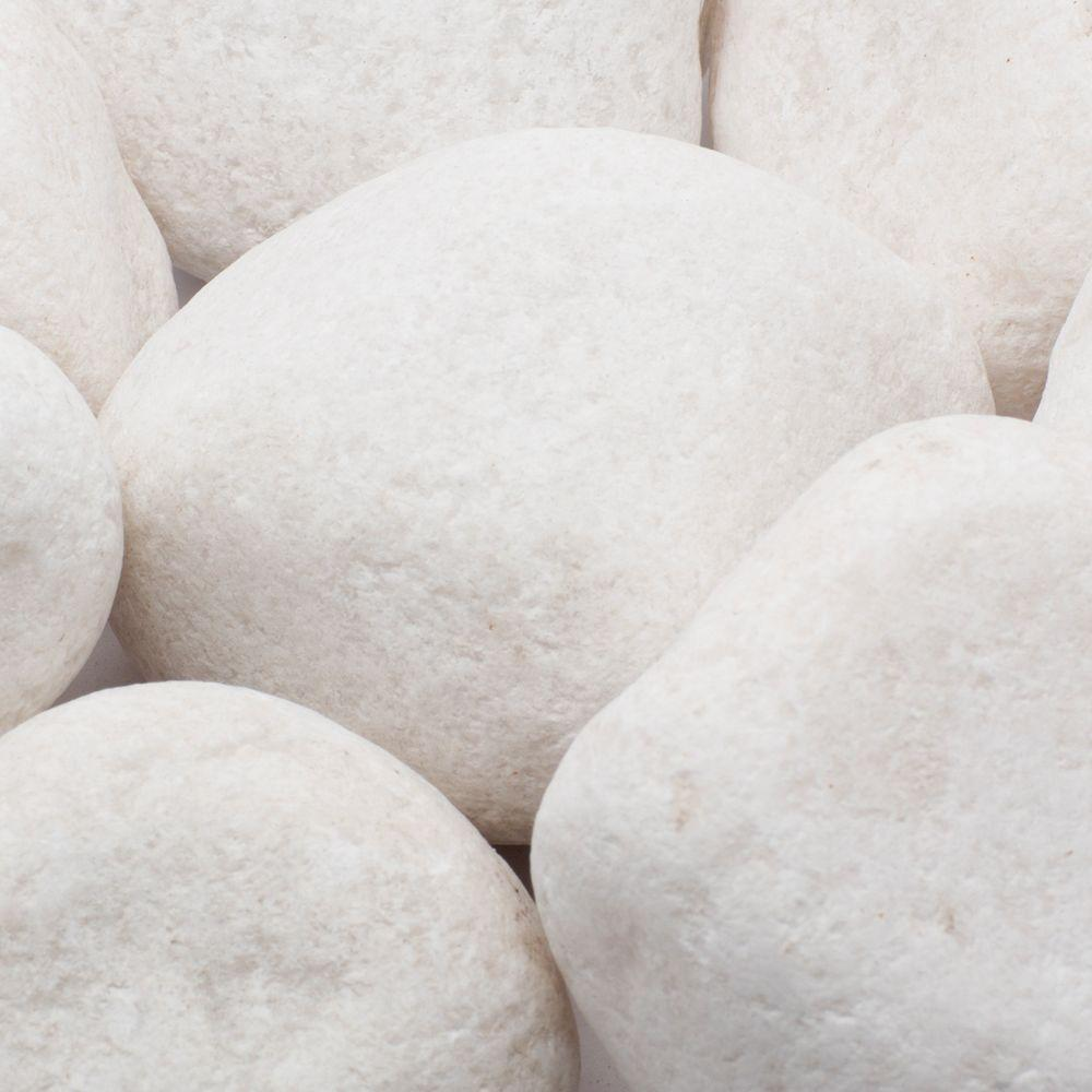 2 in. to 3 in., 20 lb. Large Snow White Pebbles