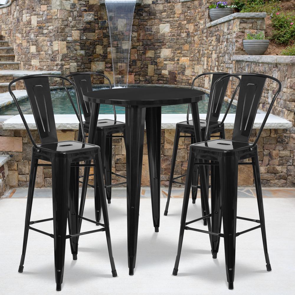 Black 5-Piece Metal Round Outdoor Bistro Set
