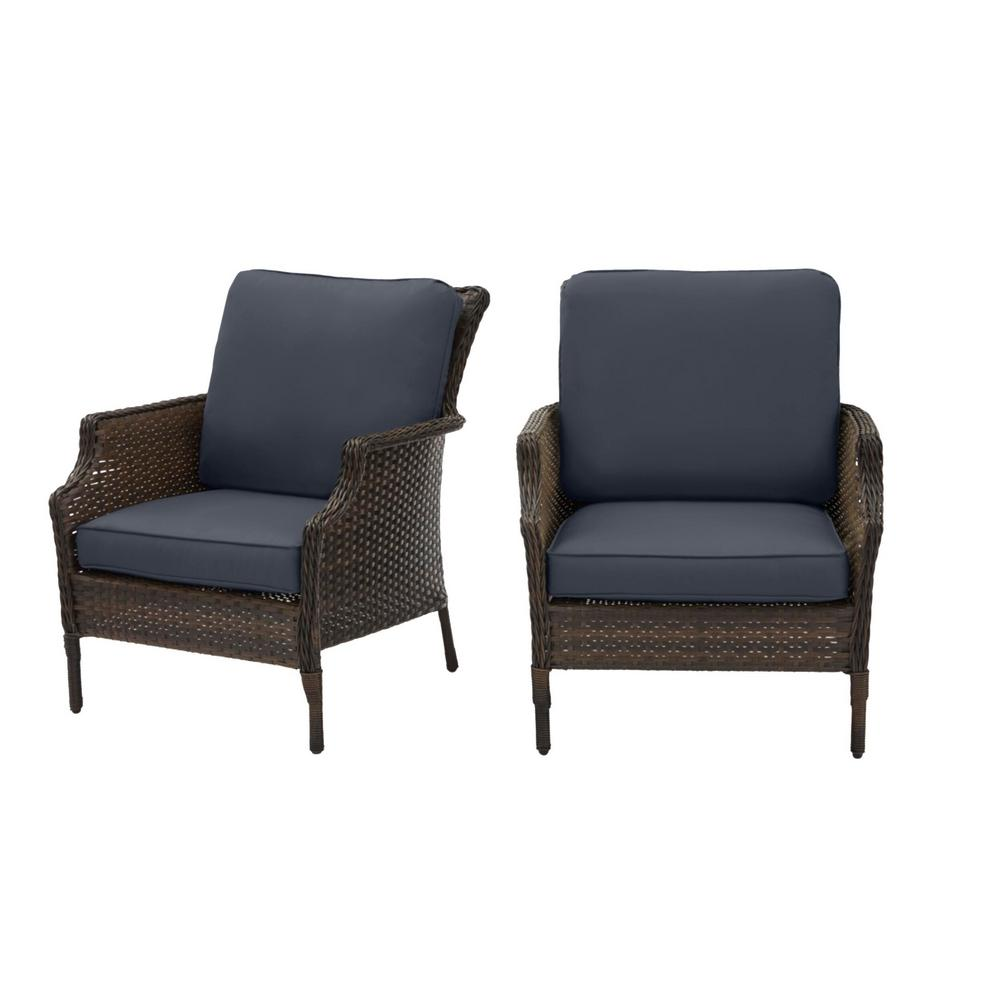 Hampton Bay Grayson Brown Wicker Outdoor Patio Lounge with CushionGuard Sky Blue Cushions (2-Pack) was $299.0 now $239.2 (20.0% off)