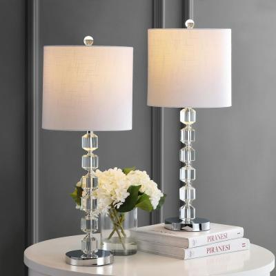 Cary 27.5 in. Chrome/Clear Modern Stacked Crystal/Metal LED Table Lamp