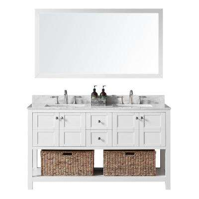 Makena 60 in. W x 22 in. D x 34.2 in. H Bath Vanity in White with Marble Vanity Top in White with White Basin and Mirror