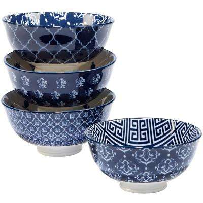 Blue Indigo 6 in. Ice Cream Bowl (Set of 4)