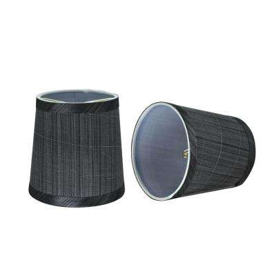 5 in. x 5 in. Grey and Black Hardback Empire Lamp Shade (2-Pack)
