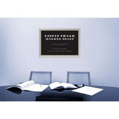 Romano Silver Wood 40 in. W x 28 in. H Framed Liquid Chalk Marker Board
