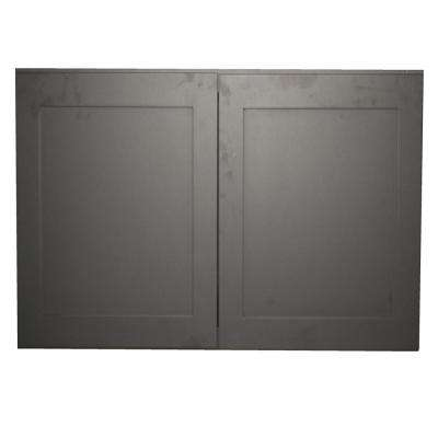 Black Satin Shaker II - Ready to Assemble 27x36x12 in. 2-Door 2-Shelf Wall  Cabinet